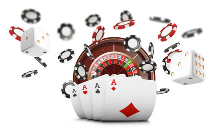 Playing cards and poker chips fly casino. Casino roulette concept on white