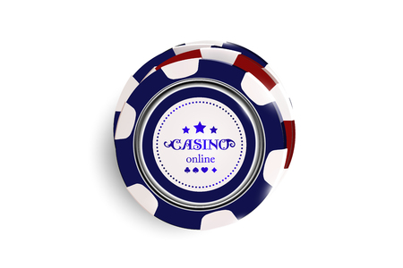 Top view of Casino chips on white