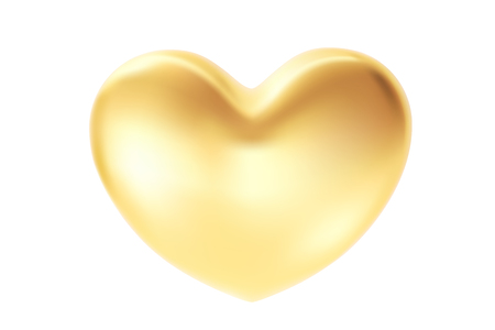 Golden heart isolated on white background. St valentine's symbol. 3d realistic Illustration with a gold valentine heart Ilustrace