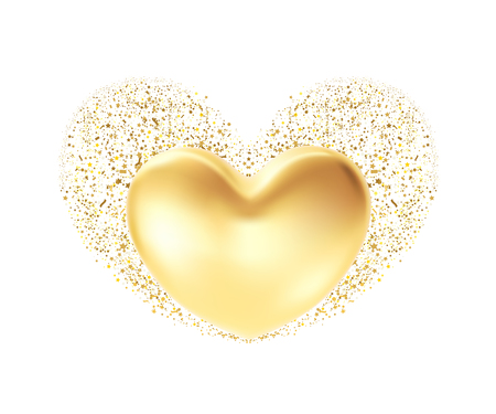 Golden heart background. St valentine's symbol isolated on white. 3d realistic Illustration design concept of a gold valentine heart