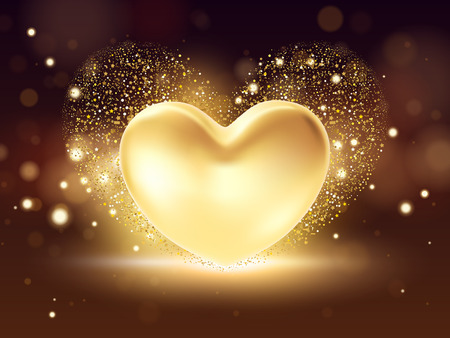 Golden heart background. St valentine's symbol on golden background. 3d realistic Illustration design concept of a gold valentine heart. Ilustrace