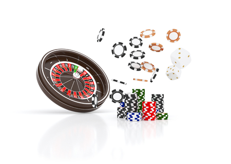Casino roulette wheel chips isolated on white. Casino game 3D chips.
