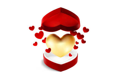 Red heart open box with flying golden and red hearts for Valentines day or special day in love concept. Open red gift box with a big golden heart isolated on white background. Vector EPS10