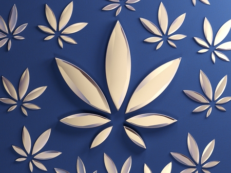 Cannabis leaf on blue
