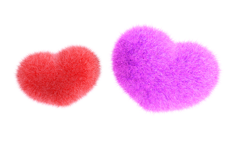Furry heart. Heart from red and blue fur. 3d render of a heart