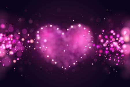 Sfondo con cuori realistici 3d rosa. Bellissimo sfondo sfocato astratto. Disegno di amore di San Valentino. Illustrazione vettoriale. Disegno vettoriale carino romantico banner. Biglietto di San Valentino Vettoriali