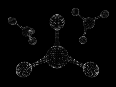 Abstract polygonal molecule structure icon. low poly biological connected cell.