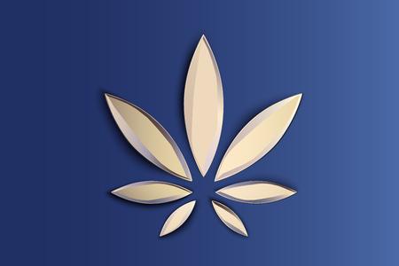 Stylish cannabis marijuana hemp leaf flat symbol or logo design. Vectores