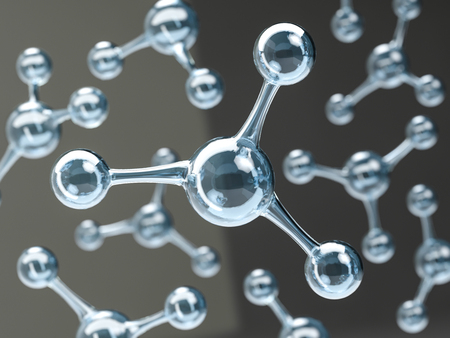 Glossy molecule or atom on black. Abstract clean water molecule structure for science or medical Standard-Bild