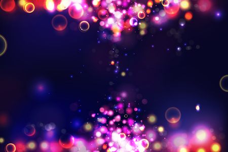 Abstract colorful defocused circular bokeh sparkle glitter lights background. Magic space cosmic shiny bubbles. Elegant layout template for blayer banner or poster background. EPS 10