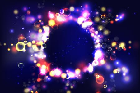 Bunter Hintergrund. Kreisförmiges Bokeh funkelt Farbe beleuchtet Hintergrund. Kosmische glänzende Blasen des magischen Raumes. Bunte Layoutvorlage für Banner- oder Posterdesign. EPS 10 Vektorgrafik