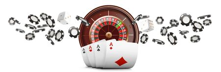 Playing cards and poker chips fly casino wide banner. Casino roulette concept on white background. Poker casino vector illustration. Realistic Casino design. Gambling poker template. Stockfoto