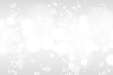 Luces bokeh plateadas y blancas desenfocadas. Fondo abstracto. Fondo claro elegante, brillante y borroso. EPS 10