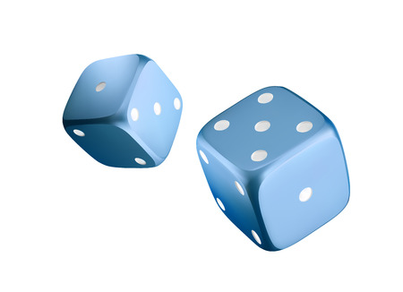Casino blue dice isolated on white background. Online casino dice cubes gambling design. 3d casino element. Vector illustration 向量圖像