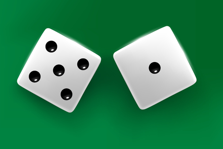 Top view of white dice. Casino dice cubes on green desk background. Online casino poker dice gambling concept