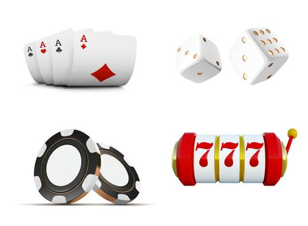 The set of vector casino elements or icons including playing cards, chips, dice and slot machine with lucky sevens jackpot. Ilustração