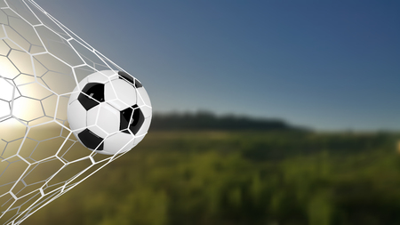 Soccer or Football Banner With 3d Ball on green field background. Soccer game match goal moment with ball in the net. Blurred soccer training field. Ilustrace