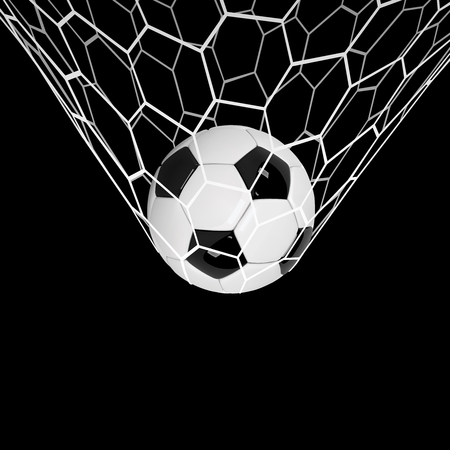 Vector Realistic soccer ball or football ball in net on black background. 3d Style vector Ball
