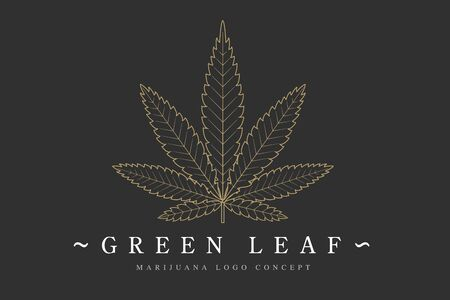 Cannabis marijuana hemp green leaf flat symbol design. Cannabis green silhouette ecology. Hemp emblem for the design packaging of goods, food, for the creation of printed products.