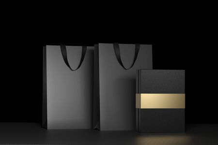 Black paper shopping bag with handles and luxury black box Mock Up. Premium black package for purchases mockup on a black background. 3d rendering. Stockfoto
