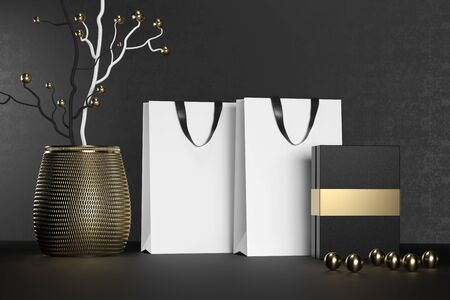 White branding paper shopping bag with handles and luxury black box Mock Up. Premium white package for purchases mockup on a black background. 3d rendering.