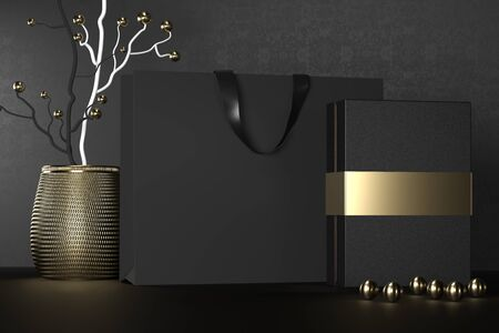 Black paper shopping bag with handles and luxury black box Mock Up. Premium black package for purchases mockup on a black background. 3d rendering. Imagens