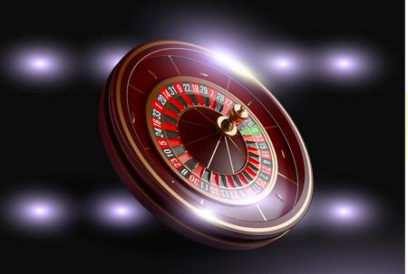 Casino roulette wheel isolated on blue background. 3d realistic vector illustration. Online poker casino roulette gambling concept design Ilustração