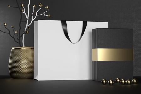 White branding paper shopping bag with handles and luxury black box Mock Up.