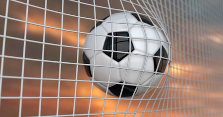 Soccer or Football Banner With 3d Ball on sky