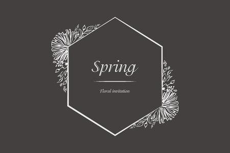 Floral spring invitation frame.