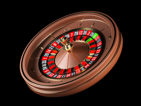 Luxury Casino roulette wheel isolated on black background. Wooden Casino roulette 3d rendering illustration.
