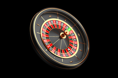 Luxury Casino roulette wheel on black background. Casino theme icon. Close-up wooden Casino roulette with a ball. Poker game table. 3d rendering illustration.