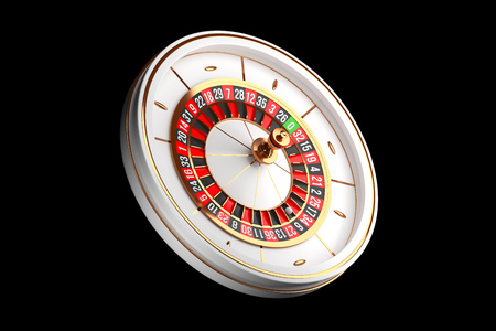 Luxury Casino roulette wheel on black background. Casino theme. Close-up white casino roulette with a ball. Poker game table. 3d rendering illustration. Reklamní fotografie