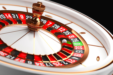 Luxury Casino roulette wheel on black background. Casino theme. Close-up white casino roulette with a ball on zero. Poker game table. 3d rendering illustration. Reklamní fotografie