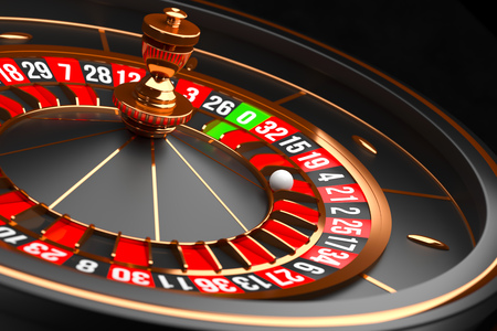 Luxury Casino roulette wheel on black background. Casino theme. Close-up black casino roulette with a ball on 21. Poker game table. 3d rendering illustration.
