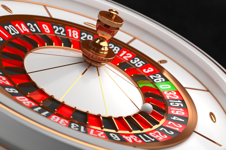 Luxury Casino roulette wheel on black background. Casino theme. Close-up white casino roulette with a ball on 21. Poker game table. 3d rendering illustration. Reklamní fotografie