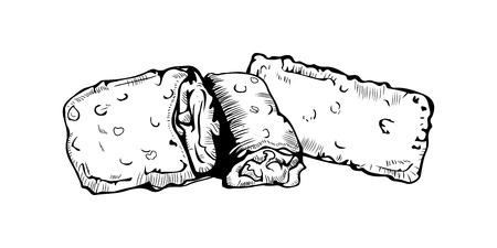 Hand Drawn Pie Sketch Symbol. Vector Dessert Element In sketch style. Illustration