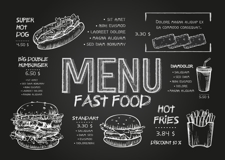 Restaurant Food Menu Design template with Chalkboard Background. Vintage chalk drawing fast food menu in vector sketch style
