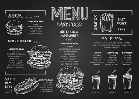 Burger-Menü-Poster-Design auf den Tafelelementen. Fast-Food-Menü im Skech-Stil. Kann für Layout, Banner, Webdesign, Broschürenvorlage verwendet werden. Vektor-Illustration. Vektorgrafik