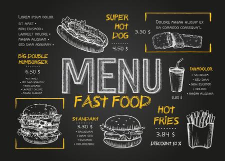 Diseño de la cubierta del menú de comida rápida con desayuno, bebidas y otros elementos del menú en la pizarra. Diseño de menú de comida rápida y comida rápida dibujado a mano ilustración vectorial. Plantilla de menú de restaurante con dibujo de hamburguesa.