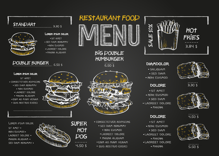 Modèle de conception de menu de nourriture de restaurant avec fond de tableau. Menu de restauration rapide dessin à la craie vintage dans un style de croquis vectoriel. Vecteurs