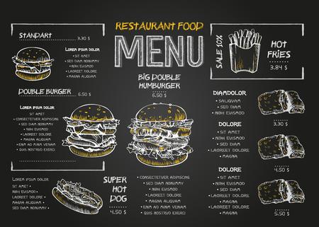 Plantilla de diseño de menú de comida de restaurante con fondo de pizarra. Menú de comida rápida dibujo de tiza vintage en estilo de dibujo vectorial. Ilustración de vector