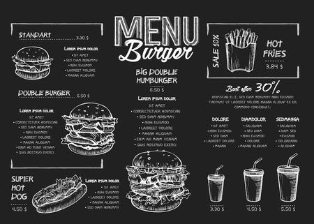 Burger-Menü-Poster-Design auf den Tafelelementen. Fast-Food-Menü im Skech-Stil. Kann für Layout, Banner, Webdesign, Broschürenvorlage verwendet werden. Vektor-Illustration.