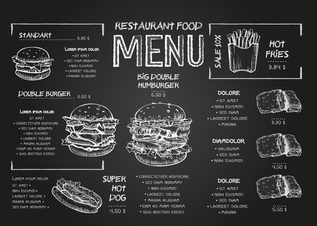 Burger menu poster design on the chalkboard elements. Fast food menu skech style. Can be used for layout, banner, web design, brochure template. Vector illustration. Vector Illustration