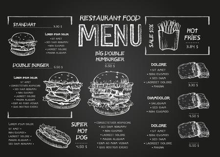 Projekt plakatu menu Burger na elementach tablicy. Styl szkicu menu fast food. Może być używany do układu, banera, projektowania stron internetowych, szablonu broszury. Ilustracja wektorowa. Ilustracje wektorowe