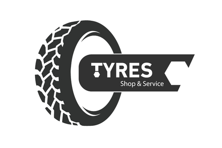 Tyre Shop Logo Design. Tyres wheel business branding, tyre logo shop icons, tire icons, car tire simple icon.