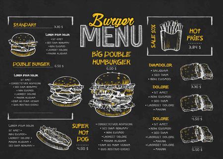 Diseño de carteles de menú de hamburguesas en los elementos de la pizarra. Menú de comida rápida estilo skech. Se puede utilizar para diseño, banner, diseño web, plantilla de folleto. Ilustración de vector.
