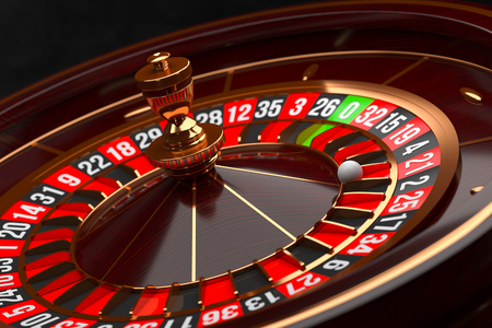 Luxury Casino roulette wheel on black background. Casino theme. Close-up wooden Casino roulette with a ball. Poker game table. 3d rendering illustration.