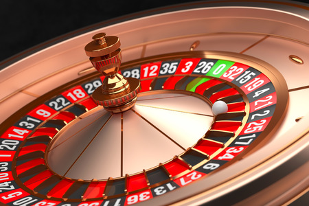 Luxury Casino roulette wheel on black background. Casino theme. Close-up golden casino roulette with a ball on 21. Poker game table. 3d rendering illustration.