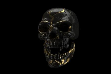 Golden and black skull isolated on black background. The demonic skull of a vampire. Scary skilleton face for Halloween. Dead vampire, skull with vampire fangs. 3D rendering.
